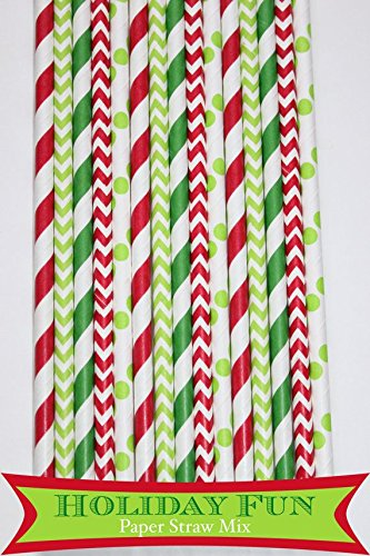 125 Pcs Christmas Green and Red Stripe Dot Chevron Paper Straw - Cane Candy Green Christmas Dot