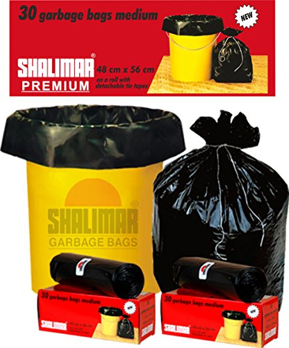Shalimar Premium OXO - Biodegradable Garbage Bags (Medium) Size 48 cm x 56 cm 6 Rolls (180 Bags) (Black Colour) 1