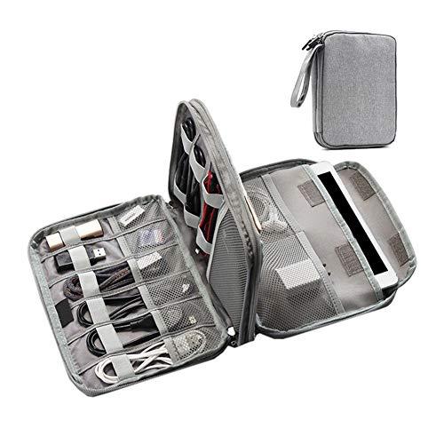 (Cable Organiser Bag, Portable Multi-Function Double Storage Bag, Waterproof Portable Power Pack, U Disk, Earphone, Digital Travel Bag,Gray)