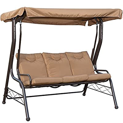 PatioPost Swing Chair Outdoor Seats 3 Porch Patio Padded Swing Hammock Glider with Steel Powder Coated Frame, Brown by PatioPost