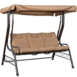 PatioPost Swing Chair Outdoor Seats 3 Porch Patio Padded Swing Hammock Glider with Steel Powder Coated Frame, Brown