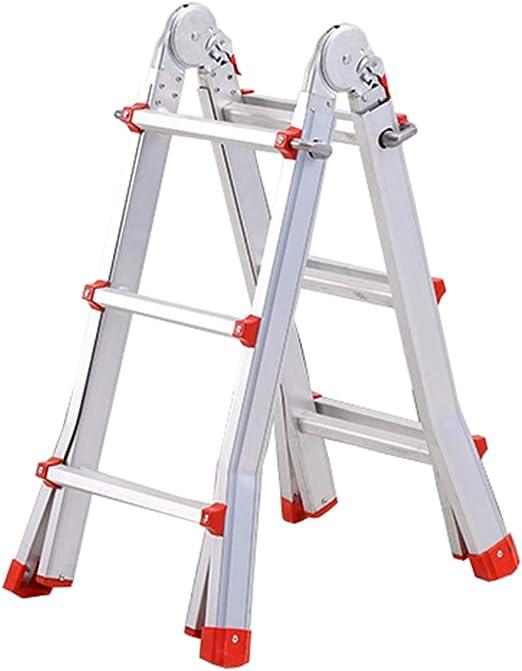 LJSJT Escalera Telescópica Escalera Tipo A Marco de aleación de Aluminio Múltiples Formas Junta Grande Altura Ajustable Escalera de 3 Pasos Familia al Aire Libre Escalera Recta 290cm de Alto Peso del:
