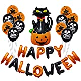Halloween Banner and Balloons Set, Halloween Decoration Set with Black Cat and Pumpkin Latex Balloons Inflatable Banner Ceiling Swirl Hanging for Halloween Holiday Season Party Decorations