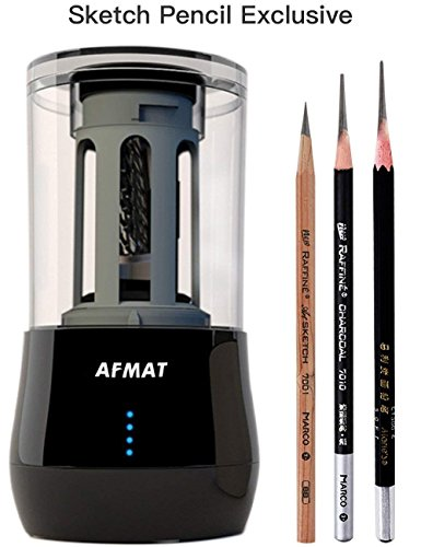 Professional Sketch Pencil Sharpener only for 6-8mm Drawing and Sketching Pencils, 3 Pencil Nib Options, Heavy Duty Portable Electric Rechargeable Pencil Sharpener for Painter, Art student by AFMAT