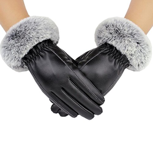 Fur Cuff Gloves - Yingniao Womens Winter Leather Gloves Texting Touchscreen Leather Gloves Fur Trim Cuff Thermal Lining Mittens Black