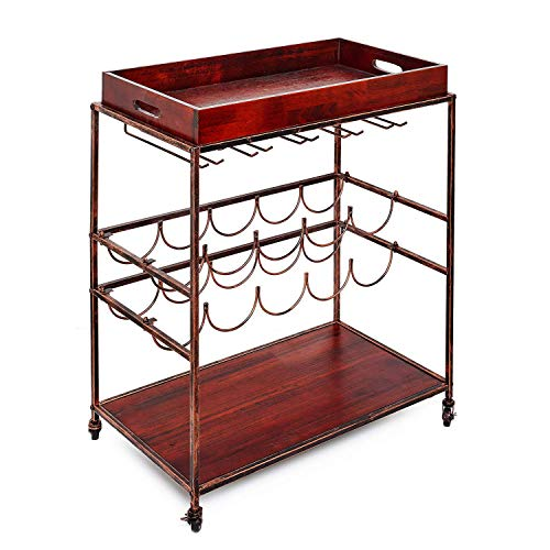 Bar Serving Cart TRIBECCA Home Mobile Kitchen with Removable Tray Top (Oak Small)