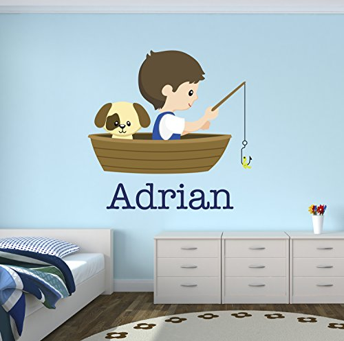 Fishing Boy and Dog Custom Wall Decal - Name Wall Decals - Nursery Wall Decals - Nautical Wall Decals - Personalized Baby Dog Vinyl Wall Vinyl Stickers]()