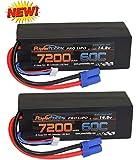 PowerHobby 4S 14.8V 7200mAh 60C-120C Lipo Battery EC5 4-Cell Hard Case (2 Pack)