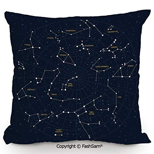 FashSam Decorative Throw Pillow Cover Sky Map Andromeda Lacerta Cygnus Lyra Hercules Draco Bootes Lynx for Pillow Cover for Living Room(14