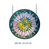 HF-82 24.5'' Tiffany Style Stained Glass Pastoral Kaleidoscope Pattern Window Hanging Glass Panel Sun Catcher