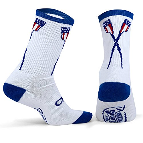 ChalkTalkSPORTS Athletic Half Cushioned Crew Socks | Rowing USA Crossed Oars Design | White/Blue