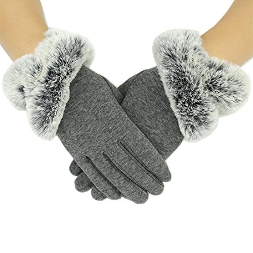 Yingniao Womens Winter Touch Screen Phone Warm Windproof Driving Gloves Gray