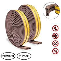 Door Weather Stripping, Keliiyo Window Seal Strip for Doors and Windows- Self-adhisive Foam Weather Strip Door Seal | Soundproof Seal Strip Insulation Gap Blocker Epdm D Type 66ft(20m) 2 Pack(White)