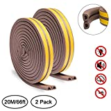 Door Weather Stripping, Keliiyo Window Seal Strip for Doors and Windows- Self-adhisive Foam Weather Strip Door Seal | Soundproof Seal Strip Insulation Gap Blocker Epdm D Type 66ft(20m) 2 Pack (Brown)