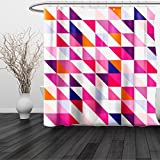 HAIXIA Shower Curtain Navy and Blush Geometric Mosaic Design Hipster Colorful Triangles Artful Aztec Retro Style Multicolor