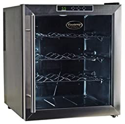 Vinotemp VT-16TEDS Thermo-Electric Digital 16-Bottle Wine Chiller, Black and Stainless