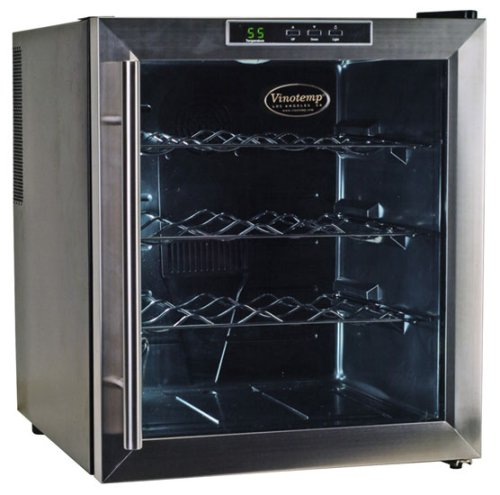 Vinotemp VT-16TEDS Thermo-Electric Digital 16-Bottle Wine Chiller, Black and (Vinotemp Stainless Steel Chiller)