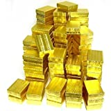 100 Jewelry Craft Gold Gift Boxes #32 Cotton Filled 3''