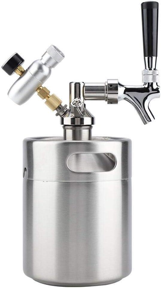 Barril de cerveza, 2L barril mini del acero inoxidable barril de cerveza con el grifo a presión Inicio elaboración de la cerveza artesanal Sistema dispensador de cerveza for la fermentación de Almacen
