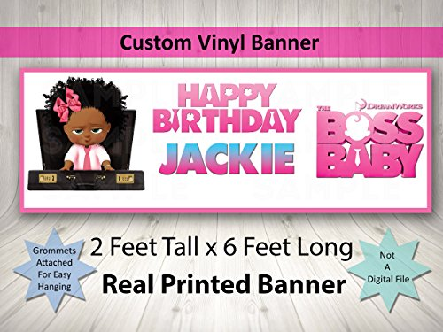 African American Girl Boss Baby Birthday Banner Personalized Custom African American Girl Boss Baby Party Decoration Large 2FTx6FT