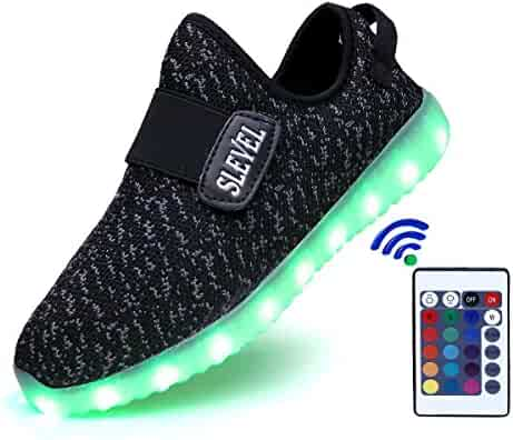 SLEVEL 16 Colors Breathable LED Light Up Shoes Flashing Sneakers for Kids Boys Girls