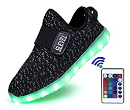 SLEVEL 16 Colors Thicker Breathable LED Light Up Shoes Flashing Sneakers for Kids Boys Girls(S33HBlack35)