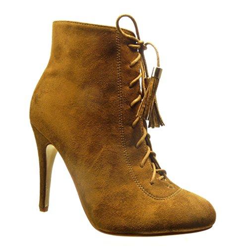 Angkorly - Zapatillas de Moda Botines low boots sexy mujer pompom fleco cordones Talón Tacón de aguja alto 10.5 CM - Camel