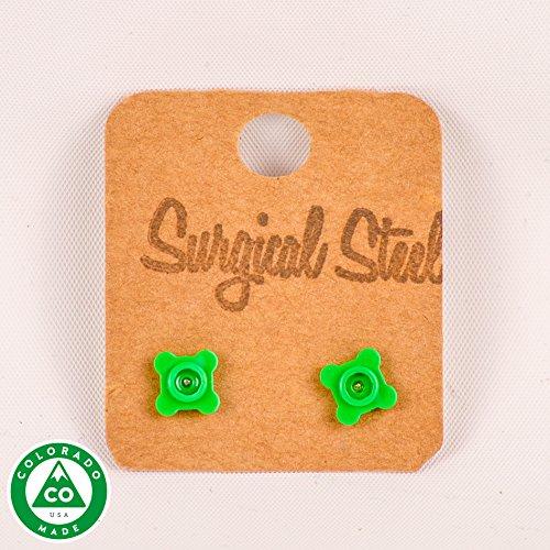 Green LEGO Flower Round Stud Earrings