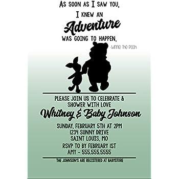 Amazon Com Winnie The Pooh Baby Shower Baby Roo Invitations W