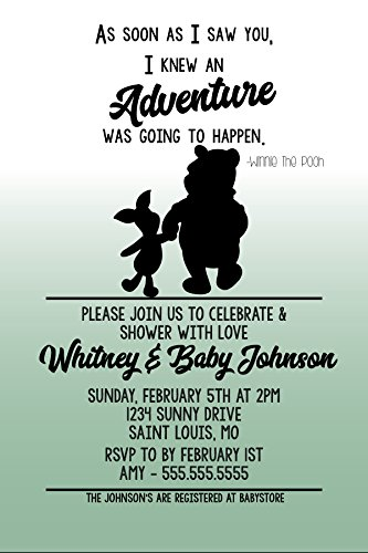 Customized Classic Winnie The Pooh Baby Shower Invitation (Girl Winnie The Pooh Baby Shower Invitations)