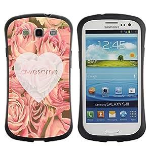 Fuerte Suave TPU GEL Caso Carcasa de Protección Funda para Samsung Galaxy S3 I9300 / Business Style love awesome heart roses pink spring