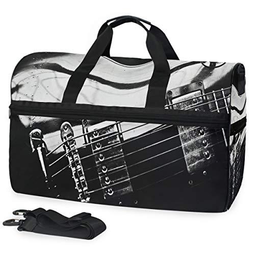 Gym Bag Retro Electric Guitar And Music Sport Duffle Holdall Bag Training Handbag Yoga bag for Men Women ()