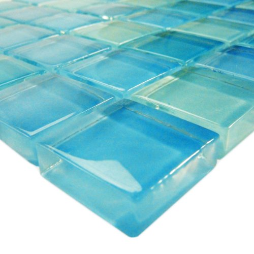 Turquoise Blue Glass Tile Blend 1'' x 1''