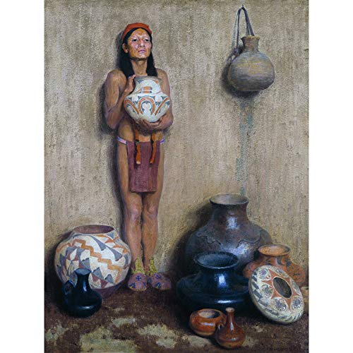 Couse Pottery Vendor Native American Ceramics Painting Extra Large Wall Art Print Premium Canvas Mural