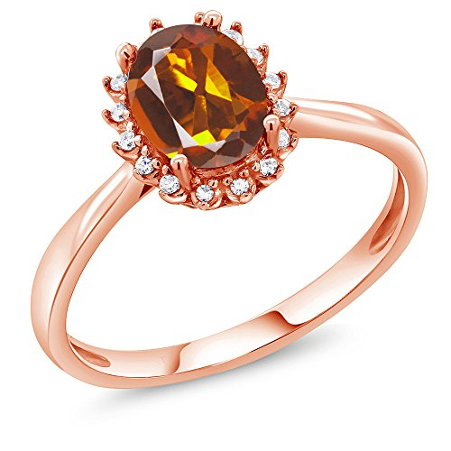 - 1.10 Ct Oval Orange Red Madeira Citrine 10K Rose Gold Ring with Diamond Accent (Size 8)