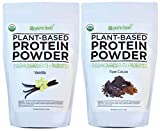 Pure Food Plant Based Protein Powder with Probiotics | Bundle Pack (2 Bags): 1 Bag of Chocolate and 1 Bag of Vanilla | Organic, Clean, All Natural, Vegan, Soy/Dairy/Gluten Free | 1024 Grams (2.2 Lb)