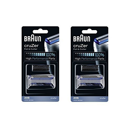 BRAUN 20S 2000 Series CruZer 1, 2, 3, 4 Shaver Foil and Cutter Combi pack Head Replacement Cassette, 2 Count