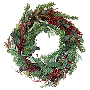 The Wreath Depot Greenwood Berry Winter Wreath, 22 Inches, Enhances Front Door Decor for Christmas Plus All Winter, Beautiful White Gift Box