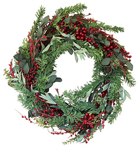 The Wreath Depot Greenwood Berry Winter Wreath, 22...