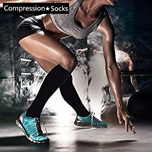 7 Pairs Compression Socks For Women and Men - Best Medical, Nursing, for Running, Athletic, Edema, Diabetic, Varicose Veins, Travel, Pregnancy & Maternity - 15-20mmHg, Large / X-Large, Black