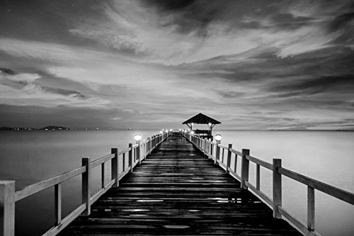 Sunrise ocean pier beach-Nature - Art Print On Canvas Rolled Wall Poster Print - Black and White 36