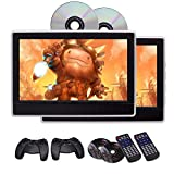 EinCar 11.6 inch LCD Wide Screen Car Headrest DVD Player x2 Portable Gaming Monitor with HDMI Port Built-in IR/FM Transmitter Support 32 Bits Games with Remote Control Game Disc