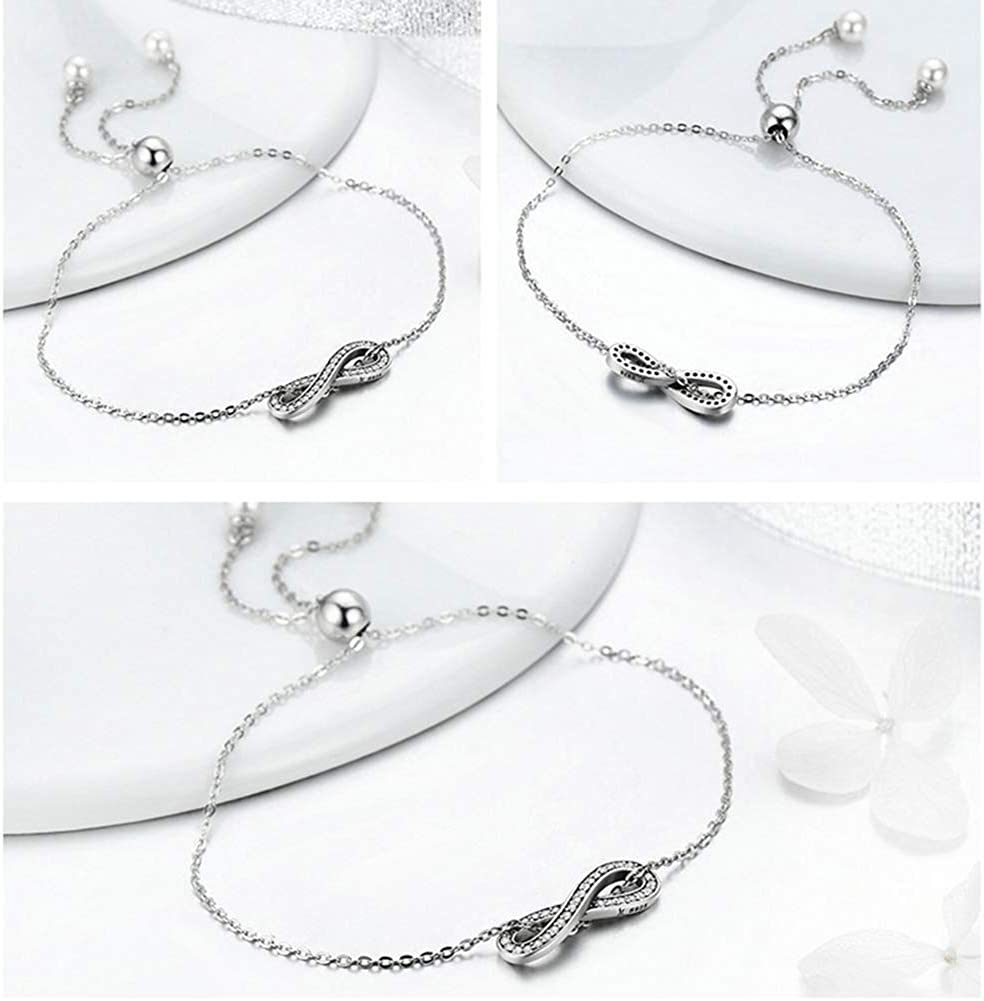 Hand-Set Zircon Artwork 925 Sterling Silver Adjustable at the and Endless Elegant Ladies Necklace With Infinity
