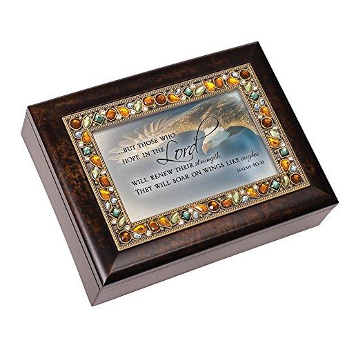Cottage Garden Hope in The Lord Eagle Wings Golden Jeweled Wood Finish Jewelry Music Box Plays On Eagle's Wings