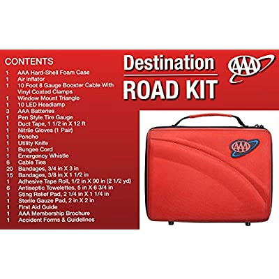 Lifeline AAA 4365AAA Destination Road, 68 Piece Emergency Car Tire Inflator, Jumper Cables, Headlamp, Warning Triangle and First Aid Kit: Automotive
