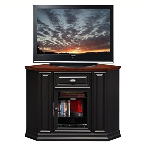 Leick Furniture 46' Corner TV Stand in a Black and Cherry Finish