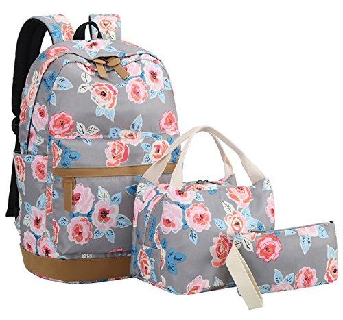 BLUBOON Teens Backpack Set Girls Women School Bags Laptop Rucksack Bookbags 3 in 1 (Gray-0019)