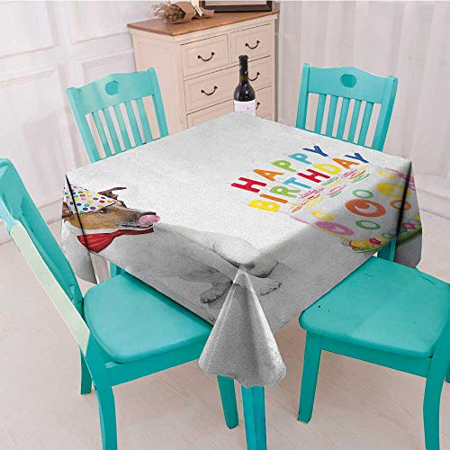 longbuyer Kids Birthday,Washable Tablecloth,Russel Dog Domestic Puppy Pet with Hat at a Party Celebration with Yummy Cake,70''x70'',Suitable for Kitchen, dustproof Desktop Decoration by longbuyer (Image #1)