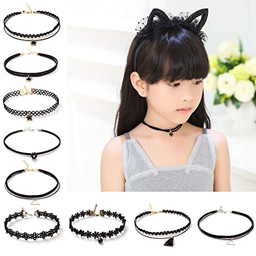 Elesa Miracle 9pcs Little Girl Lace Choker Necklace Vintage Kids Gothic Tattoo Lolita Lace Choker]()