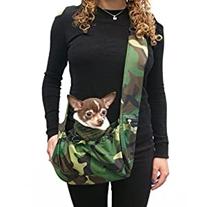 Easy Walk Sport Pet Sling Carrier Camo | Small Tiny Dog Pet Up to 8 LBS Wearable Hip Sling Bag for Teacup, Puppy, XXS Extra Small Dogs | Nylon. Waterproof , Washable, Travel | My Canine Kids